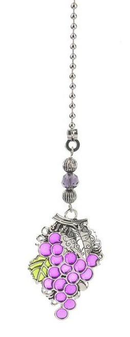 Purple Grapes Grapes Decorative Metal Silver Ceiling Fan Light Pull Ganz