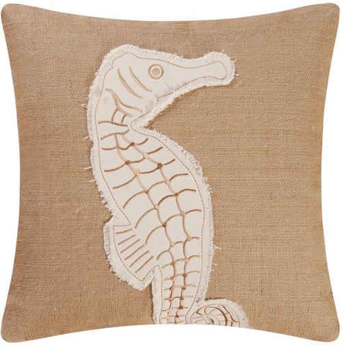 Burlap Embroidered Seahorse 18 X 18 Inch Coastal Decor Accent Throw Pillow