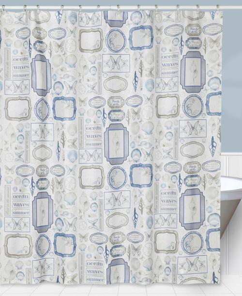 Elegant Natural Beauty Seaside Shells Bathroom Fabric Shower Curtain