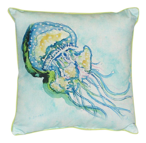 Coastal Jellyfish Tentacles Indoor Outdoor Pillow 18 X 18 Made in the USA