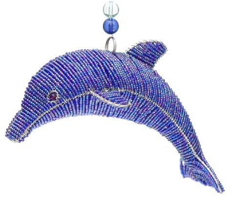 Marine Ocean Dolphin Blue Glass Beaded Wire Sculpture Grassroots Beadworkx