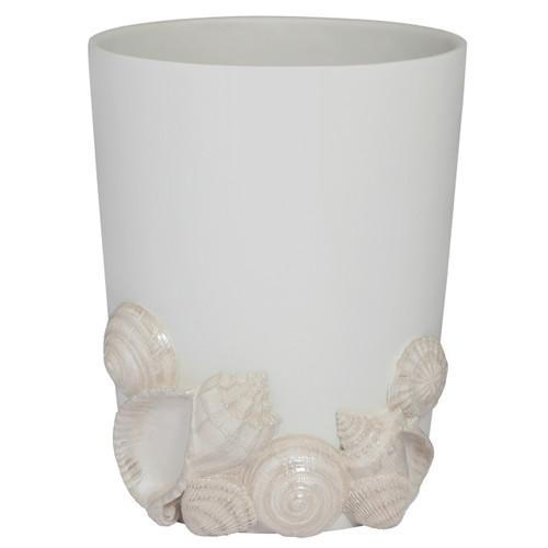 Elegant Natural Beauty Seaside Seashells White Wastebasket Trash Receptacle