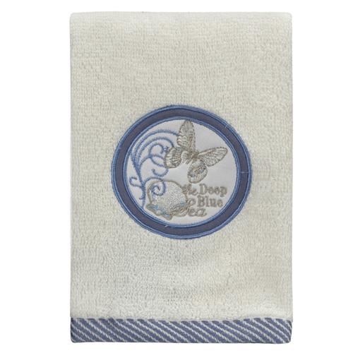 Elegant Natural Beauty Seaside Embroidered Bathroom Wash Cloth Fingertip Towel