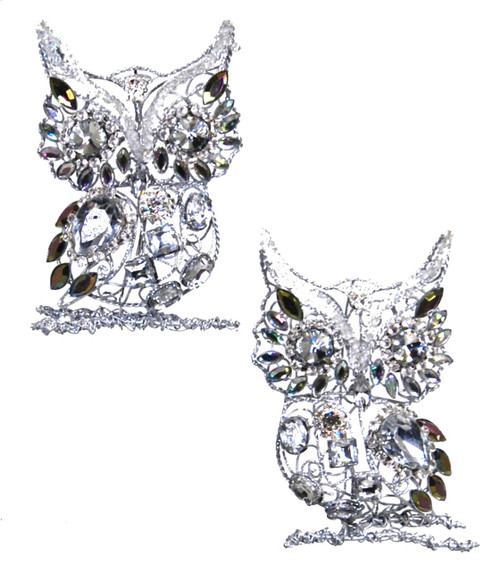 Jeweled Silver Rhinestones Owl Ornaments Set of 2 Katherine's Collection