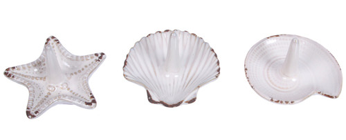 Starfish Scallop Nautilus Shell Ring Dishes 4 Inch Embossed Ceramic Set of 3