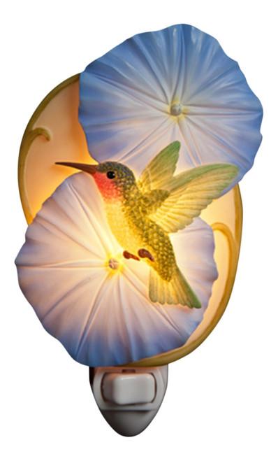 Hummingbird on Blue Morning Glory Blooms Night Light