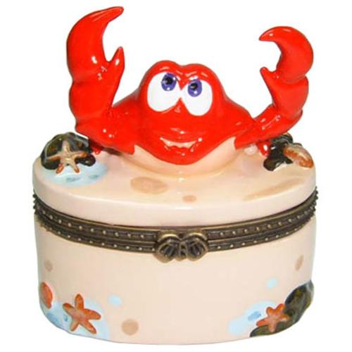 Atlantic Red Crab Claws Porcelain Hinged Trinket Box phb