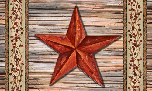 Country Primitive Rustic Barn Star Welcome 30 x 18 Inch Floor Mat Rug