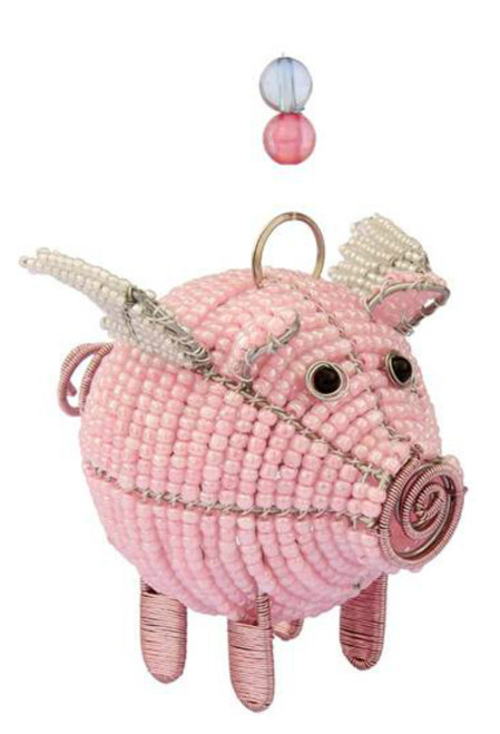 Fun Little Pink Flying Pig Beaded Wire Hanging or Tabletop Sculpture