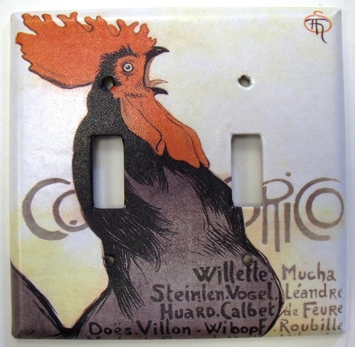 Cocorico Rooster Double Switchplate Cover