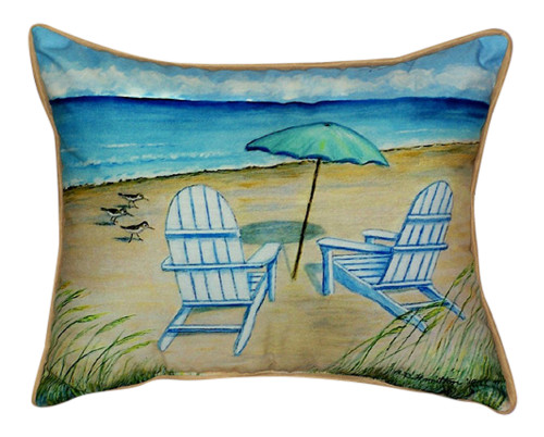 Coastal Beach Adirondack Chairs Indoor Outdoor Pillow 15 X 22 Made in the USA
