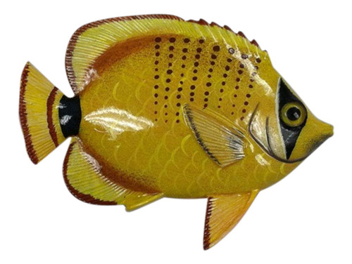 Big 12 Inch Striped Yellow Tropical Fish Bath Childrens Wall Decor 12TFW82
