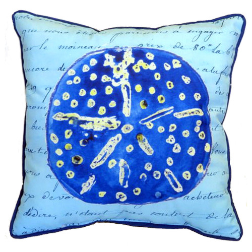 Blue Sand Dollar With Script Accent Throw Pillow Indoor Outdoor 18 X 18 Inches