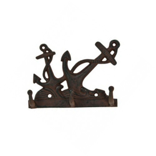 Antique Reproduction Cast Iron Coastal Ship's Anchor Key Hooks Wall Decor