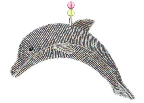 Marine Ocean Dolphin Grey Glass Beaded Wire Sculpture