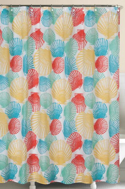 Captiva Island Seashells Teal Yellow Green Cotton Shower Curtain 72 X 72 Inch