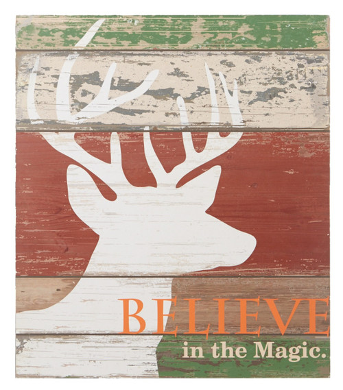 Believe in the Magic Deer Head Rustic Wall Decor 15.75 Inches Wood