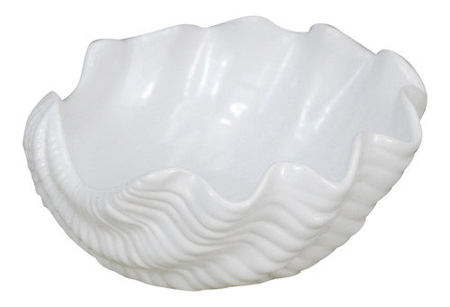 Clam Shell Shaped White Serving Bowl 7 Inches Ceramic