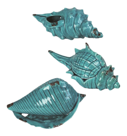 Coastal Turqoise Seashell 10 Inches Tabletop Figurines Set of 3