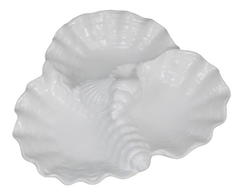 White Scalloped Edges Seashells Triple Sectioned Serving Dish 10 Inches