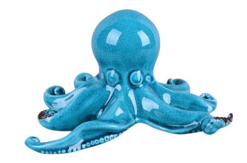 Ocean Blue Octopus Ceramic Tabletop Figurine 9 Inches