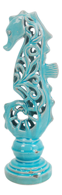 Blue Filigree Fancy Seahorse Figurine 16 Inches Table Decor