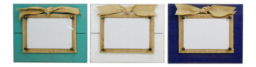 Beadboard With Burlap Bow 4X6 Photo Frames Set of 3 Teal White and Navy