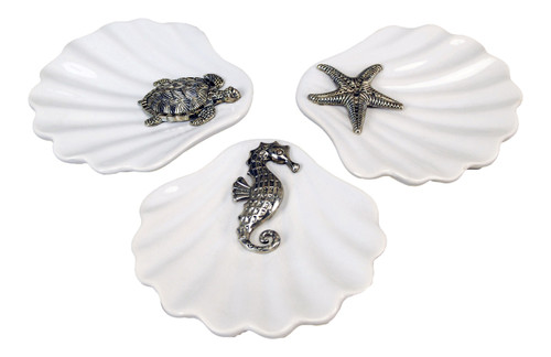 Nautical White Shell Dishes with Sea Turtle Seahorse and Starfish Icons Set of 3