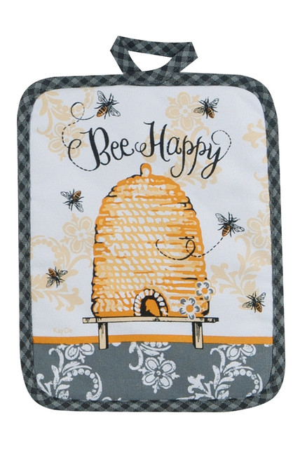 Bee Happy Yellow and Black Printed Kitchen Pot Holder Cotton Kay Dee