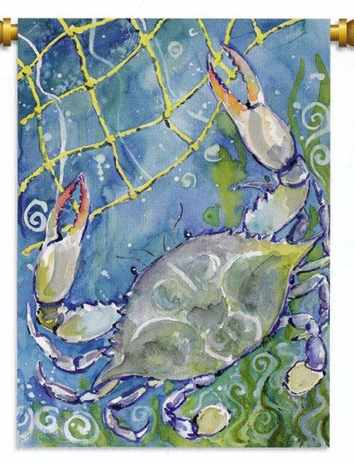 Nautical Ocean Beach MD Blue Crab Net Standard Flag Banner 40X28 Inches
