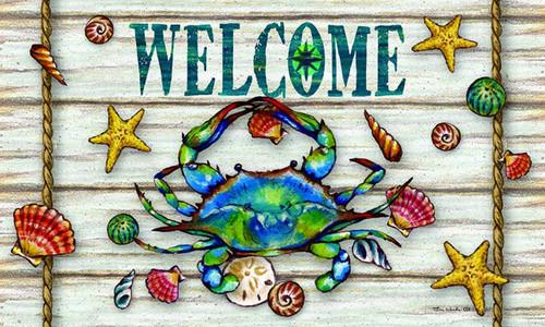 Blue Crab Welcome Starfish and Seashells 30 X 18 Floor Mat Coastal Decor