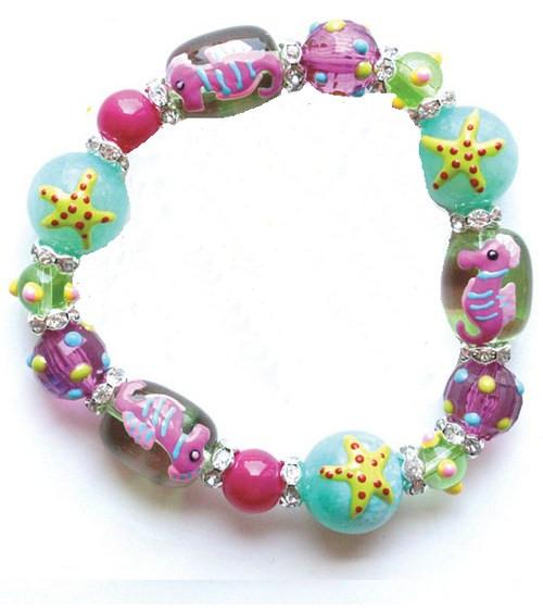 Seahorse and Starfish Rhinestone Glass Beaded Kate and Macy Stretch Bracelet