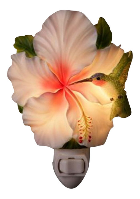 Hummingbird and Hibiscus Floral Hand Painted Night Light