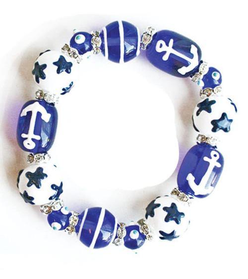 Sailor Blue Anchors Away Rhinestone Glass Beaded Kate and Macy Stretch Bracelet