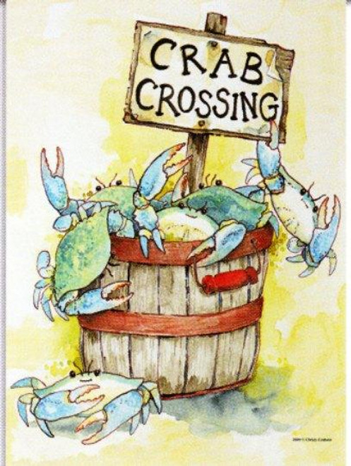 Nautical Crab Crossing Blue Crab Standard Flag Banner SF