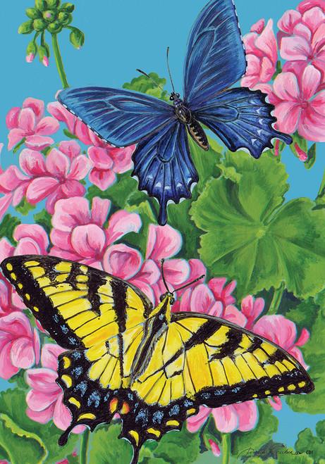 Blue Yellow Monarch Butterflies on Geraniums 12 X 18 Garden Flag Custom Decor