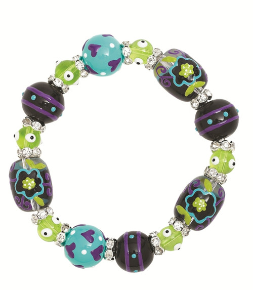 Little Flower and Hearts Rhinestone Glass Beaded Kate and Macy Stretch Bracelet