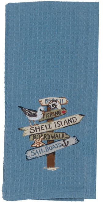 Blue Beach Signs Shell Island Embroidered Waffle Kitchen Dish Towel