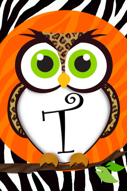 Celebrating Fall Leopard Owl Design Monogram T Double Sided Garden Flag