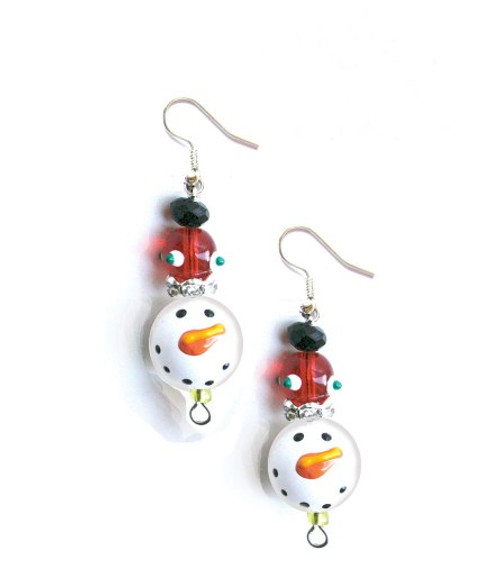 Sparkling Snowman Winter Rhinestone Glass Beaded Kate and Macy Earrings