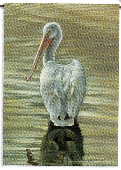 Coastal Nautical White Pelican Bird Garden Flag Banner GF