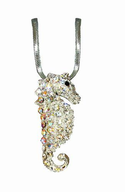 Austrian Crystal Silver French Wire Seahorse Necklace