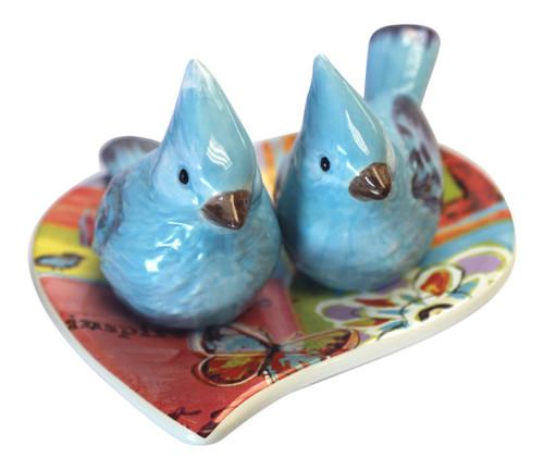 Daily Joy Bluebirds on Heart Plate Salt and Pepper Shakers 3 Piece Set Ceramic