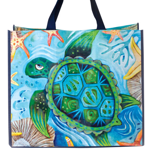 Happy Sea Turtle 17 Inch Shopper Bag Beach Tote Allen Designs