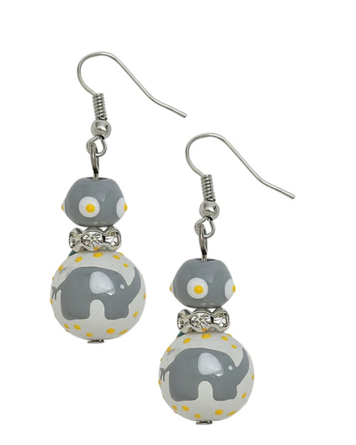 Gray Elephant Rhinestone Glass Beaded Kate and Macy Pierced Earrings Clementine