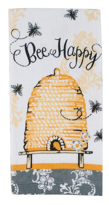 Bee Happy Yellow and Black 26 Inch Printed Kitchen Terry Towel