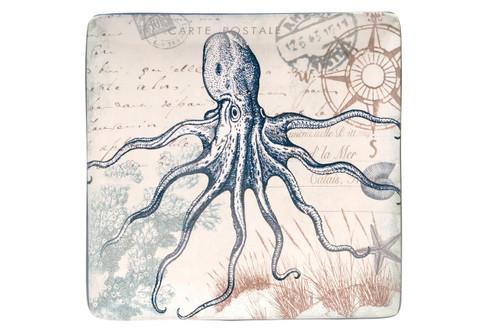 Coastal Postcards Blue Octopus 12.5 Inch Square Serving Platter