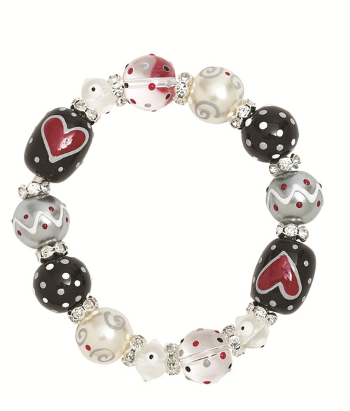 True Love Red Hearts Rhinestone Glass Beaded Kate and Macy Stretch Bracelet