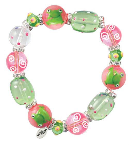 Little Green Frogs Rhinestone Glass Beaded Kate and Macy Stretch Bracelet