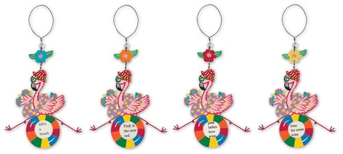 Beachy Tropical Pink Flamingos Wine Bottle Charms and Magnet Set